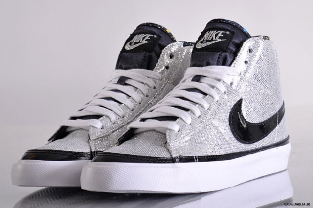 Nike WMNS Blazer Mid Paillettes Glitter X-Girl Medicom Silver Black White Womens High Top Sneakers