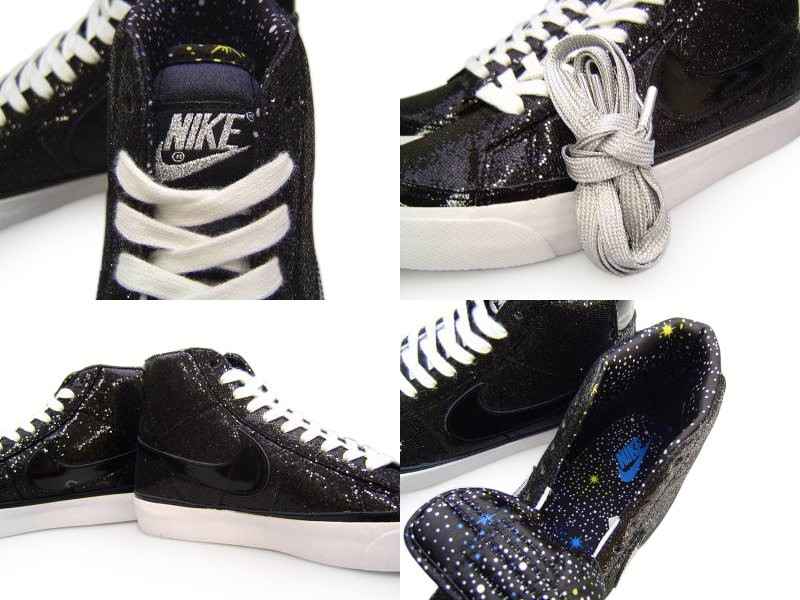 Nike WMNS Blazer Mid Paillettes Glitter X-Girl Medicom Black Womens High Top Sneakers