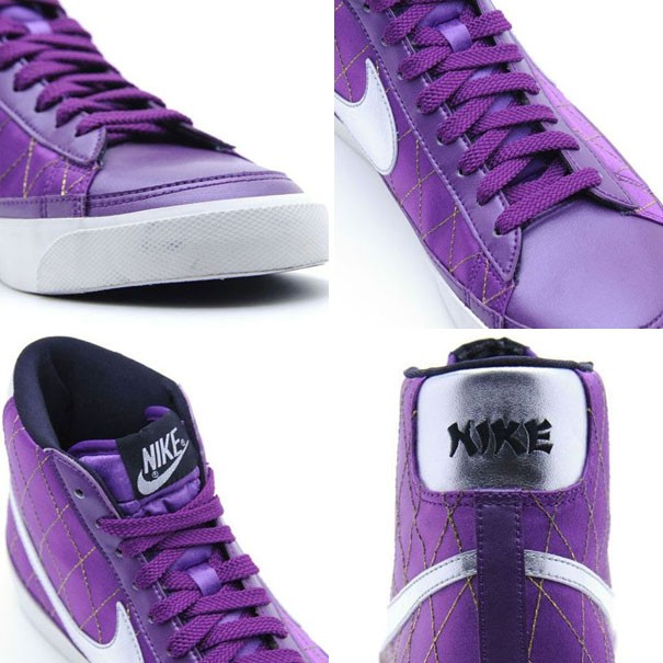Nike WMNS Blazer Mid 09 ND Satin Leather Purple Silver White Women's Shoe
