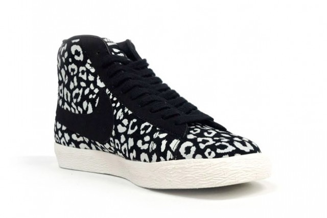 Nike Blazer Mid Leopard Print Sneakers Black White Womens /Mens Shoes