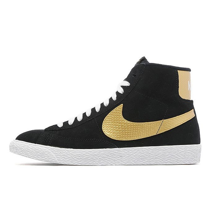 Nike WMNS Blazer Mid Suede Snake Print Glitter Black Gold Womens High Top  Sneakers