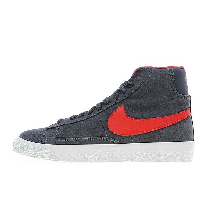 Nike Sportswear Blazer Mid Suede Grey Red Junior Trainers