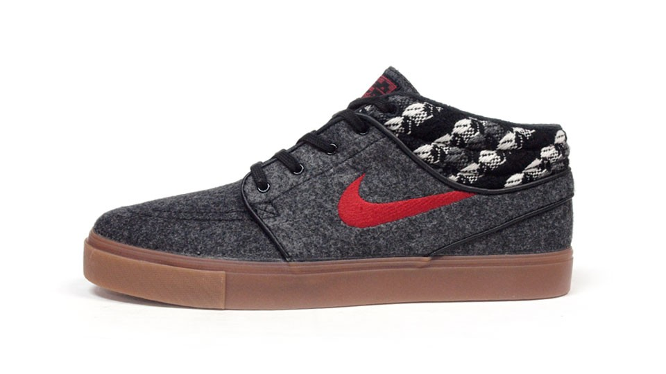 Nike SB Zoom Stefan Janoski Mid Warmth Grey Red Gum Men's Skateboarding Shoes