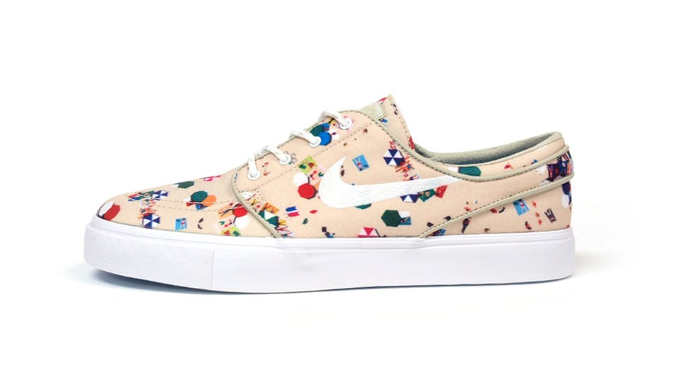 Nike Zoom Stefan SB Janoski Beach Canvas Premium QS Low Beige White Multicolor Men's Skateboarding Shoes
