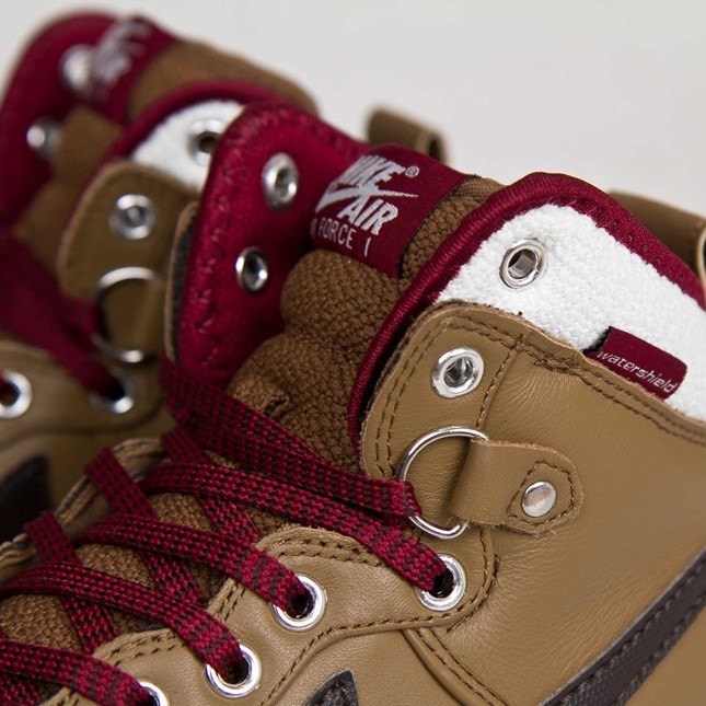 Nike Air Force 1 Duckboot 444745-301 Umber Velvet Brown Sail Team Red Men's Shoe Boots
