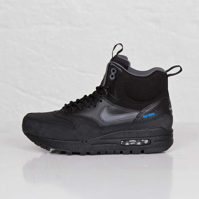 Nike WMNS Air Max 1 Mid Sneakerboot 685267-001 Black Dark Grey Metallic Silver Womens Running Shoes