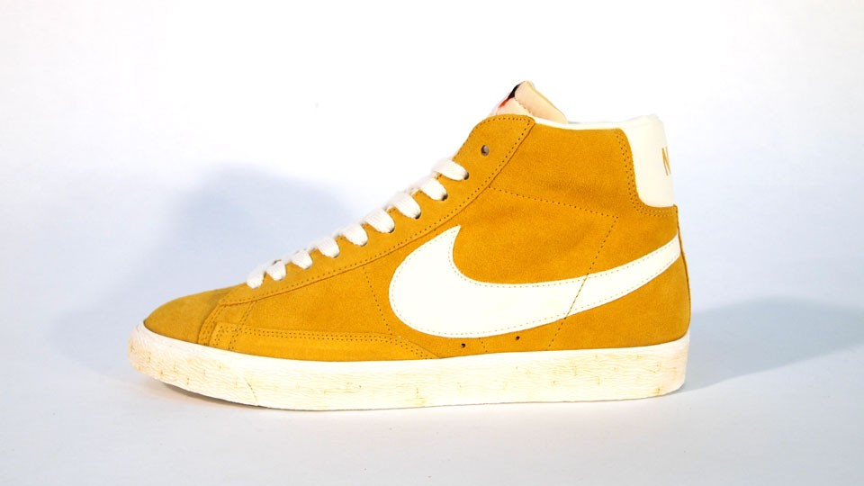 Nike WMNS Blazer High Suede Vintage QS 344344-700 Yellow White Womens Laced Trainers