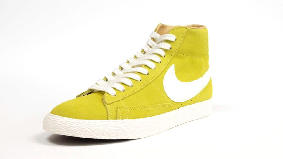 Nike Blazer High Premium Retro Suede 511427-772 Yellow White Mens Laced Trainers