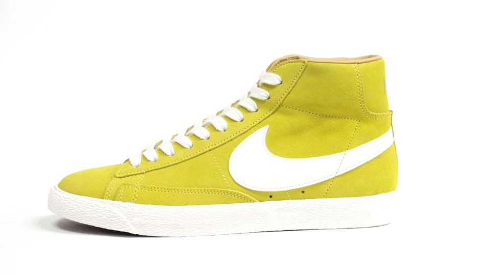 Nike WMNS Blazer High Premium Retro Suede 511427-772 Yellow White Womens Laced Trainers