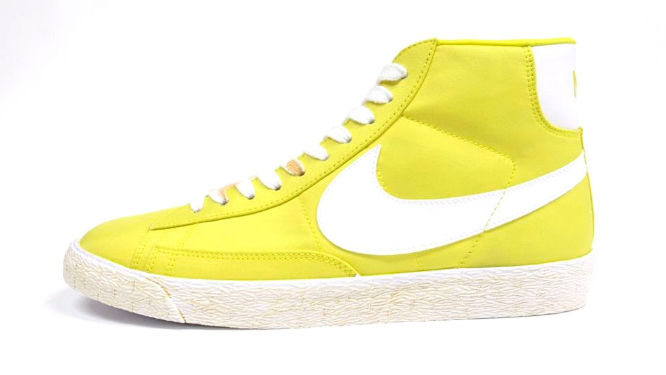 Nike Blazer High Vintage Canvas 375722-300 Yellow White Mens Laced Trainers