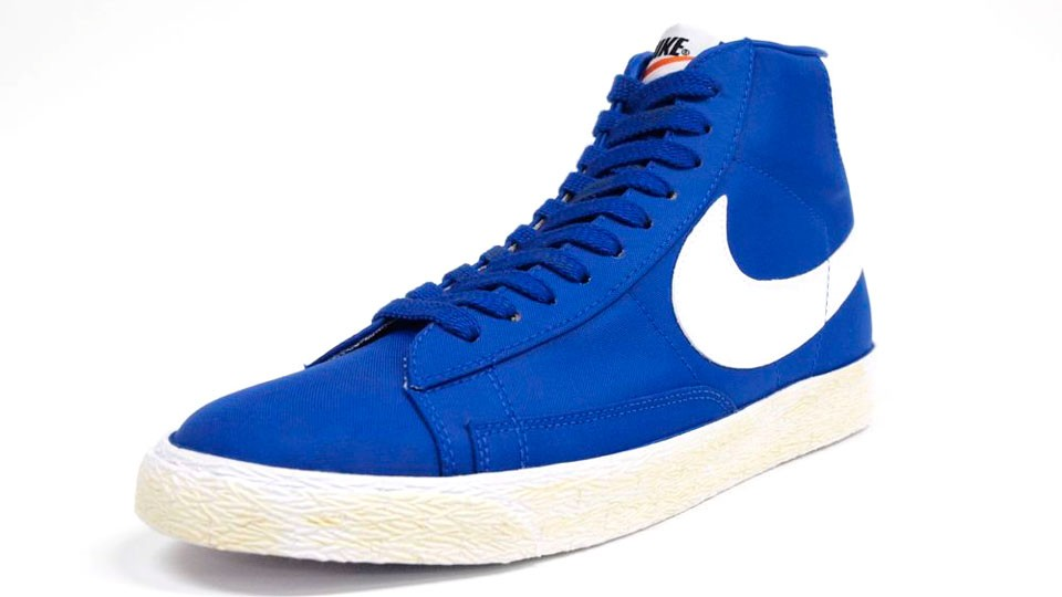 Nike Blazer High Vintage Canvas 375722-400 Blue White Mens Laced Trainers