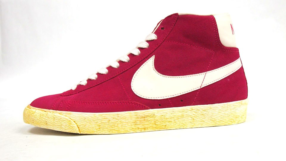 Nike Blazer High Suede Vintage 344344-602 Pink Force White Mens Laced Trainers