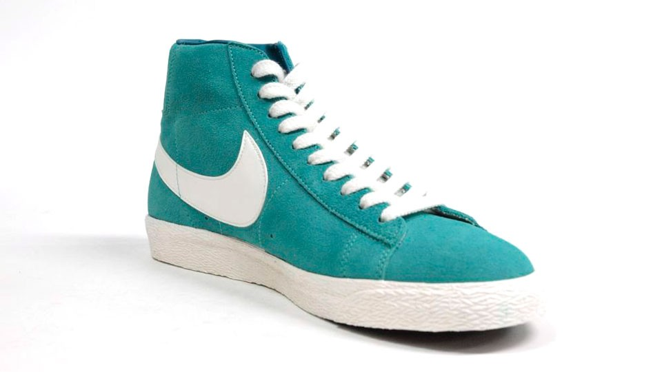 Nike WMNS Blazer High Premium Retro Suede 511427-302 Emerald Green White Womens Laced Trainers