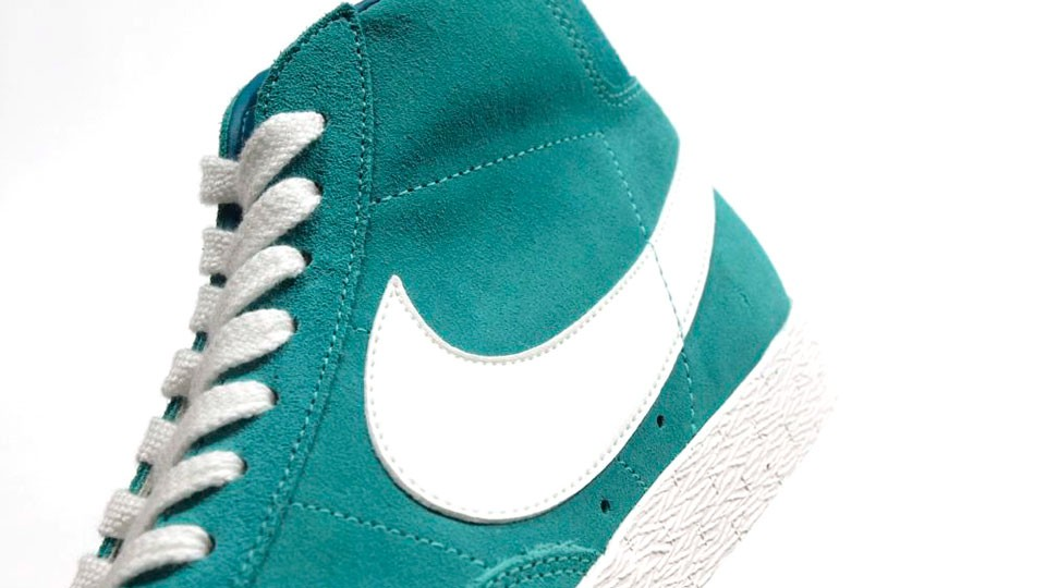 Nike Blazer High Premium Retro Suede 511427-302 Emerald Green White Mens Laced Trainers