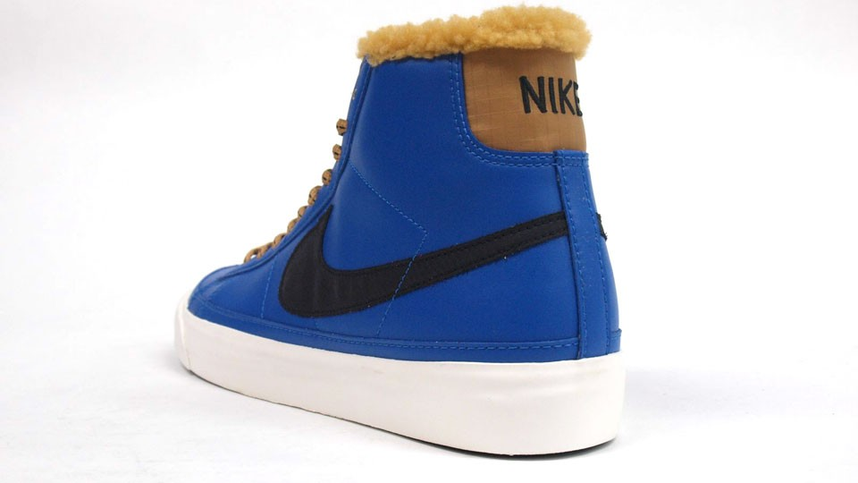 Nike Blazer Mid ND Leather Winter 371761-400 Blue Sapphire Golden Harvest Fur Black Swoosh Men's Shoes
