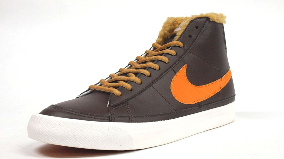 Nike Blazer Mid ND Leather Winter 371761-201 Brown Orange Golden Harvest Fur Men's Shoes