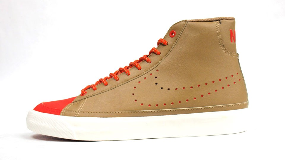 Nike Blazer Mid 09 Perforated Swoosh 371761-203 Beige Orange Red Mens Trainers