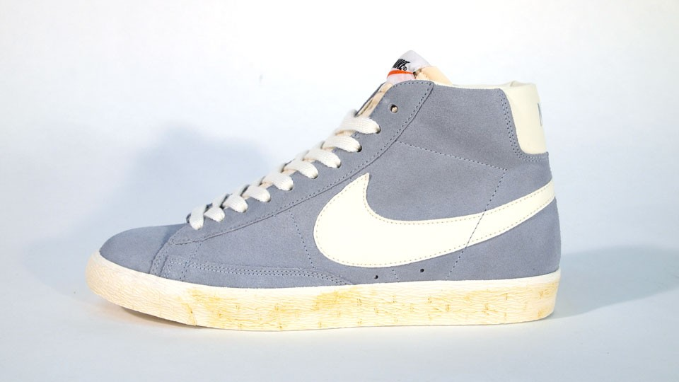Nike Blazer High Suede Vintage QS 344344-400 Sax Blue White Mens Laced Trainers