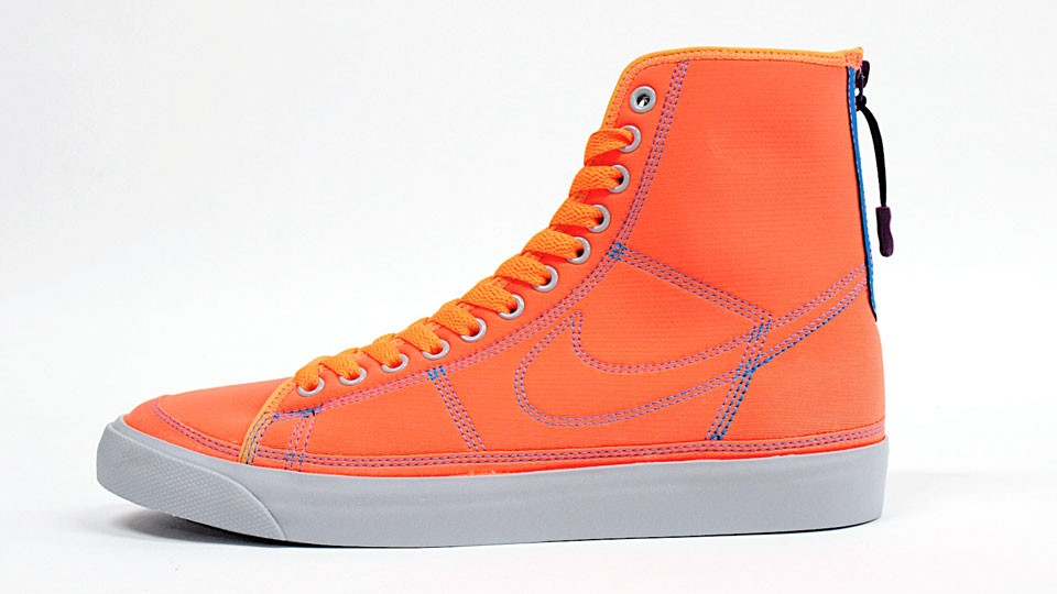 Nike WMNS Aqua Blazer High Zipper 407487-800 Orange Grey Women's Sneakers
