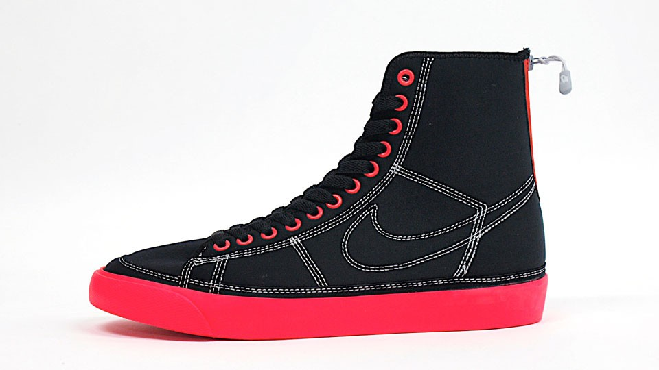 Nike WMNS Aqua Blazer High Zipper 407487-001 Black Neon Red Women's Sneakers
