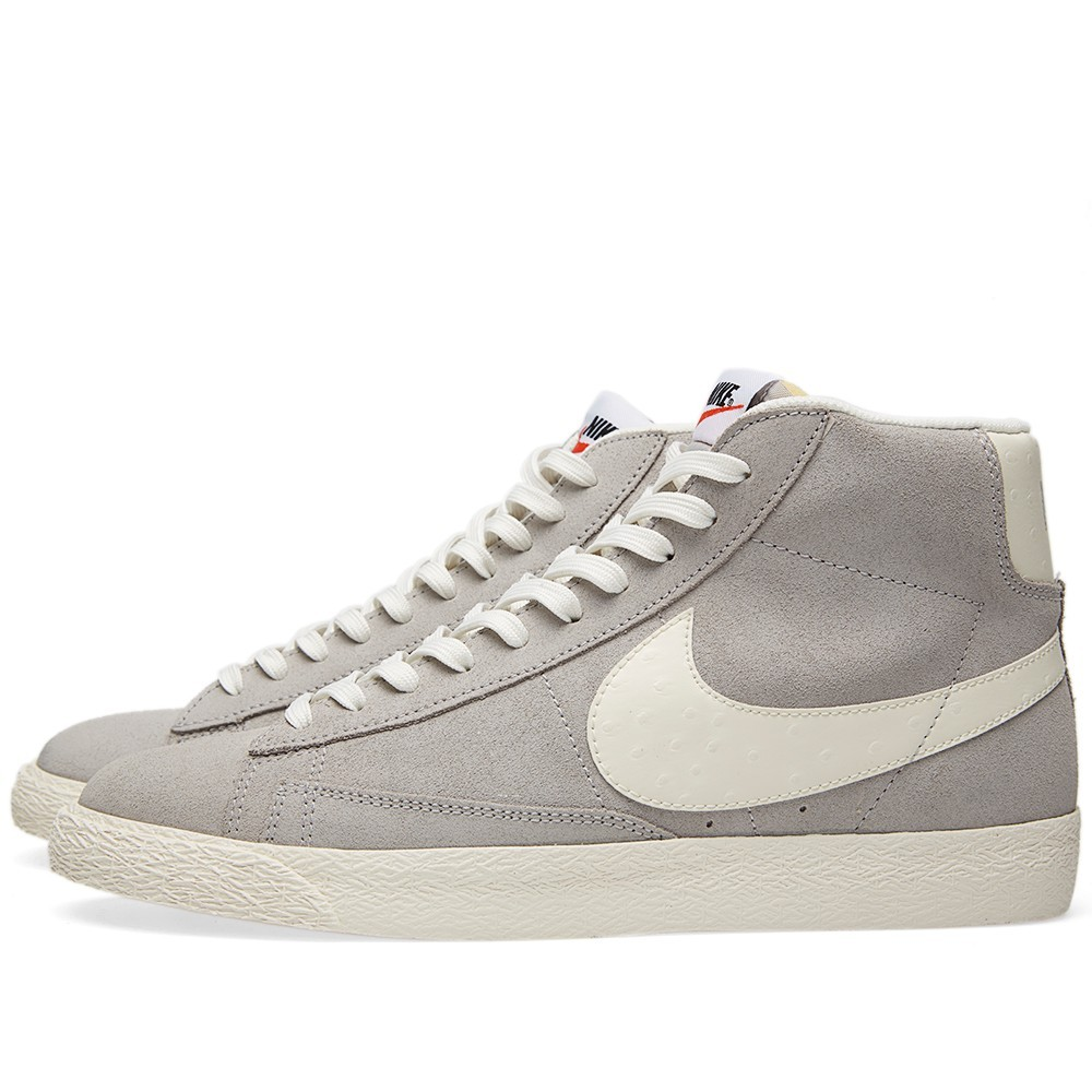 Nike Blazer Mid Prm Vntg 638261-006 Wolf Grey Sail White Men's Shoe
