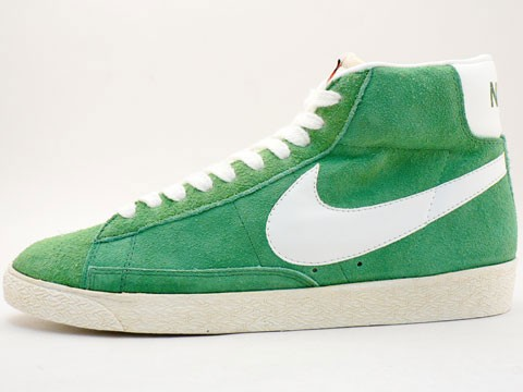 Nike WMNS Blazer Hi Suede Vintage 344344-311 Green White Womens Laced Trainers