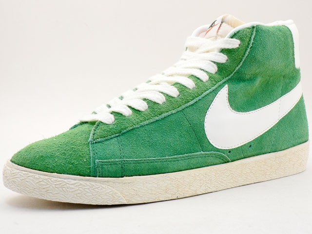Nike Blazer Hi Suede Vintage 344344-311 Green White Mens Laced Trainers