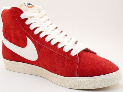 Nike Blazer Hi Suede Vintage 344344-611 Red White Mens Laced Trainers