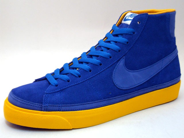 Nike Blazer High Premium QK NBA Pack Golden State 346725-441 Blue Yellow Men's Shoe