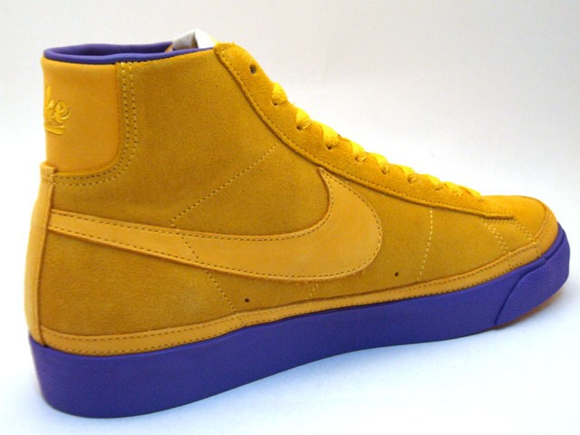 Nike Blazer High Premium QK NBA Pack Los Angels 346725-771 Yellow Purple Men's Shoe