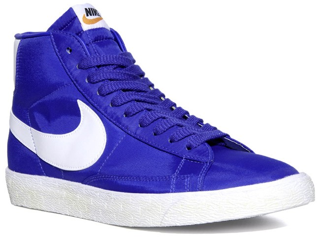 Nike Blazer Hi Vintage Nylon Royal Blue White Mens Laced Trainers