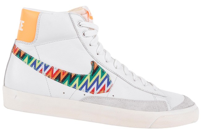 Nike WMNS Blazer Mid 77 Premium Vintage Zig Zag White Orange Multicolor Womens High Top Sneakers