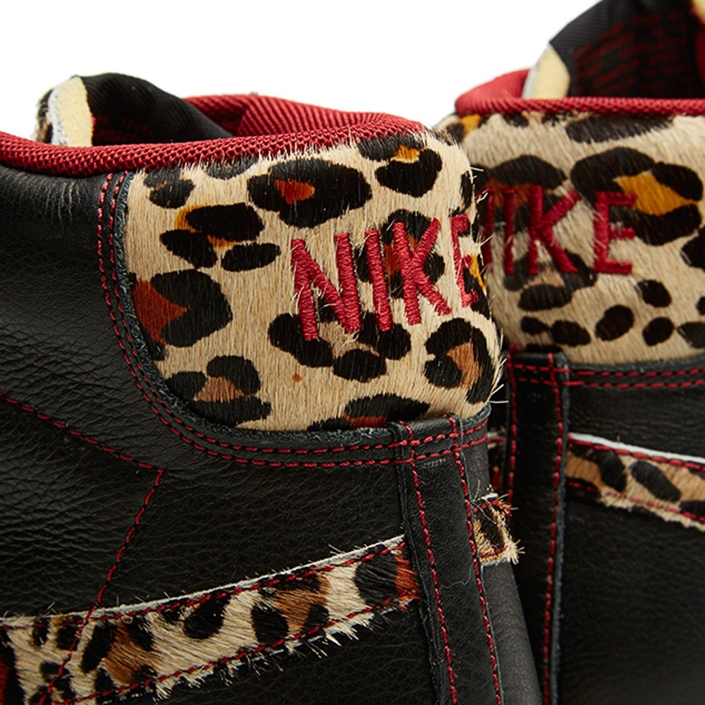 Nike Blazer Mid Premium Vintage Safari Leopard QS 638322-002 Black Natural Valiant Red Sneakers