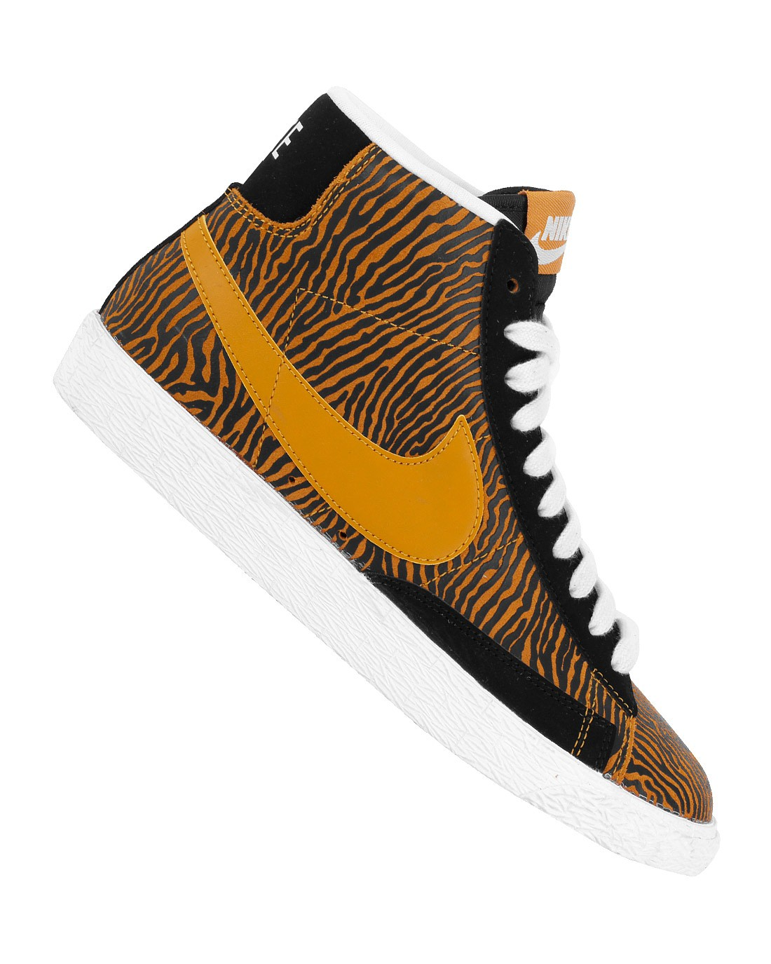 Nike Blazer Mid Suede Print 586304-002 Black Gold White Mens High Top Sneakers