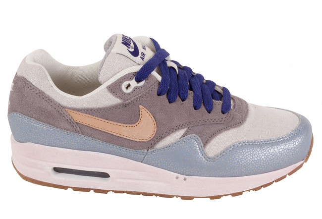 Nike WMNS Air Max 1 Premium Blue Grey Cream Earth Brown Dark Blue Womens Running Shoes