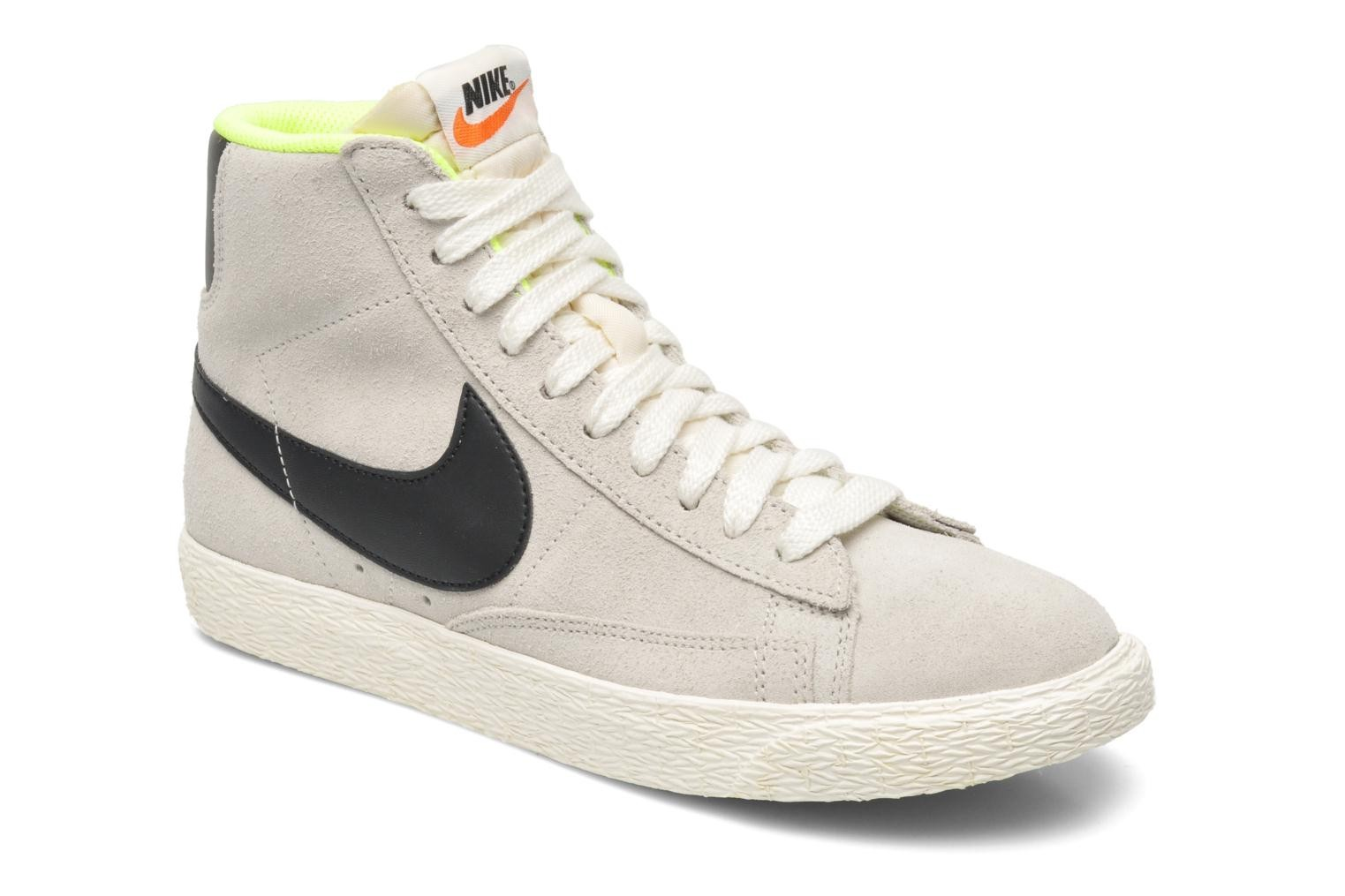 Nike WMNS Blazer Mid Suede Vintage Light Bone Black Lime Womens High Top  Sneakers