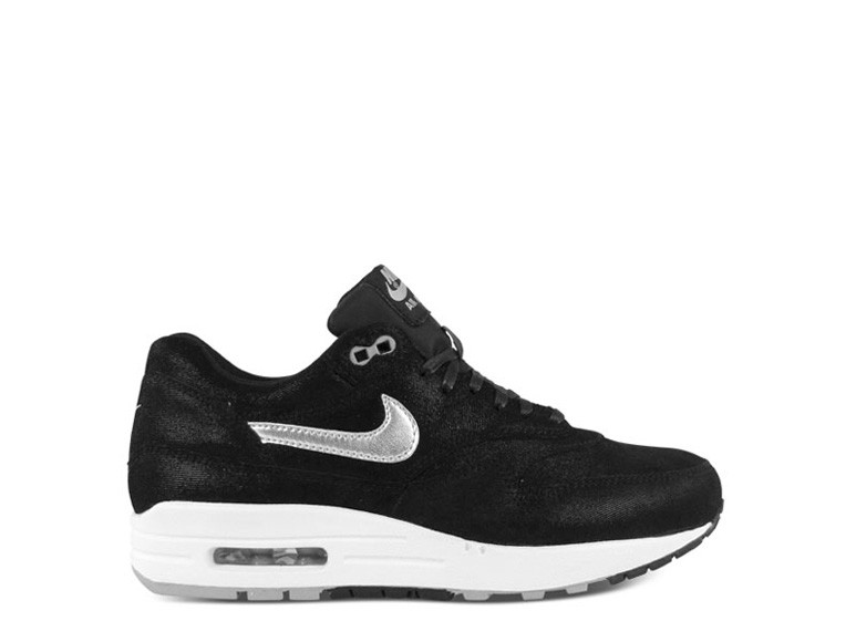 Nike WMNS Air Max 1 Premium Black Metallic Silver Womens Running Shoes