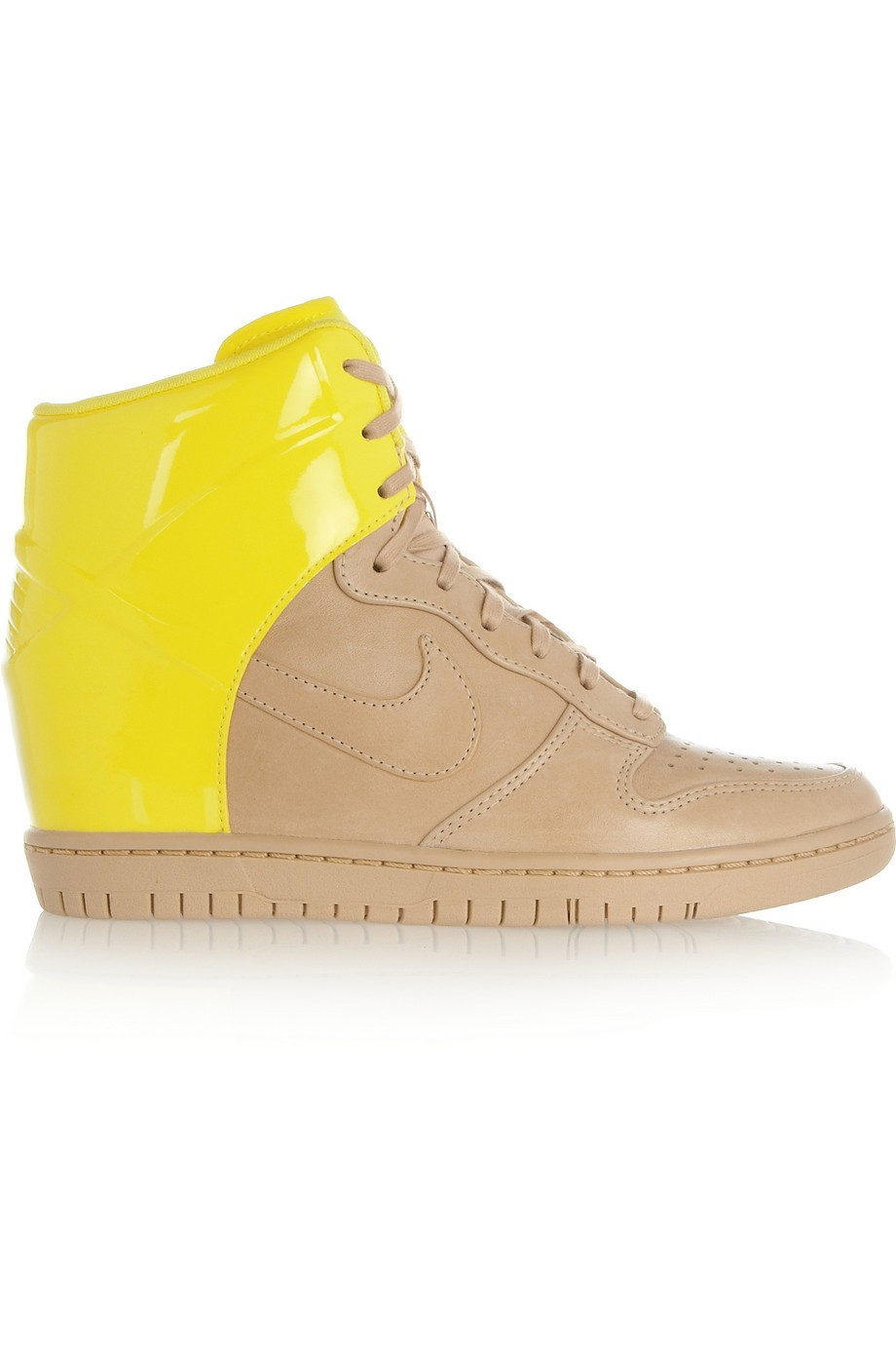 Nike WMNS Dunk Sky Hi Leather Beige Yellow Womens Wedge Sneakers