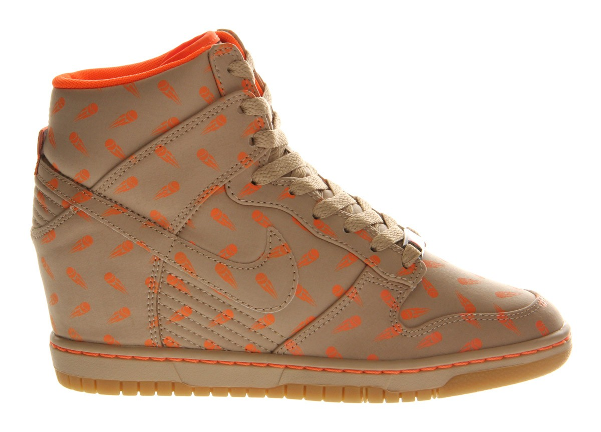Nike WMNS Dunk Sky Hi Tan Orange Womens Wedge Sneakers