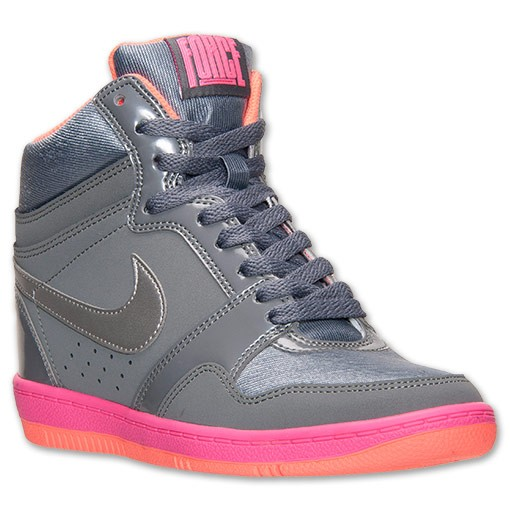 Nike WMNS Force Sky High 629746 008 Cool Grey/Metallic Silver/Hyper Pink Sneaker Wedge Women's Shoes