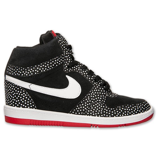 Nike WMNS Force Sky High Print 705148 001 Black/White/University Red Sneaker Wedge Women's Shoes