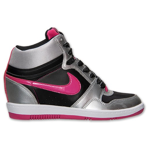 Nike WMNS Force Sky High 629746 006 Black/Vivid Pink Sneaker Wedge Women's Shoes