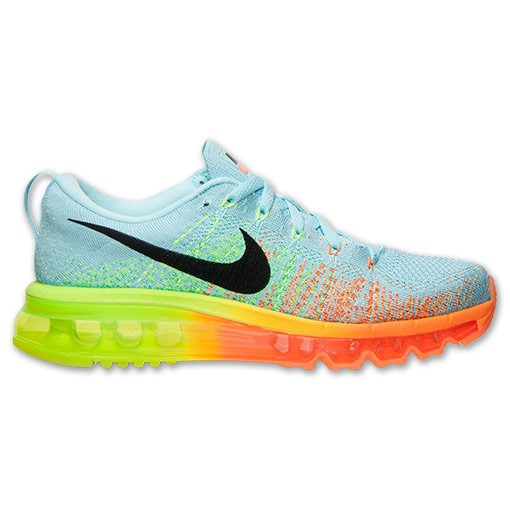 Nike WMNS Flyknit Air Max 620659 408 Glacier Ice/Black-Atomic Orange-Volt Women's Running Shoes