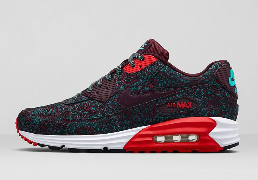 Nike Air Max Lunar90 Paisley Suit and Tie Pack Prm Qs Deep Burgundy Challenge Red Womens and Mens Shoe