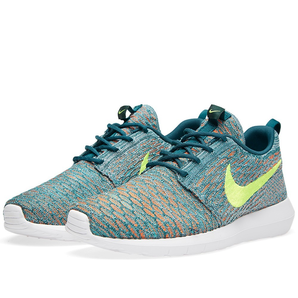 Nike Roshe Run Flyknit Multicolor 677243-300 Mineral Teal Volt Shoes