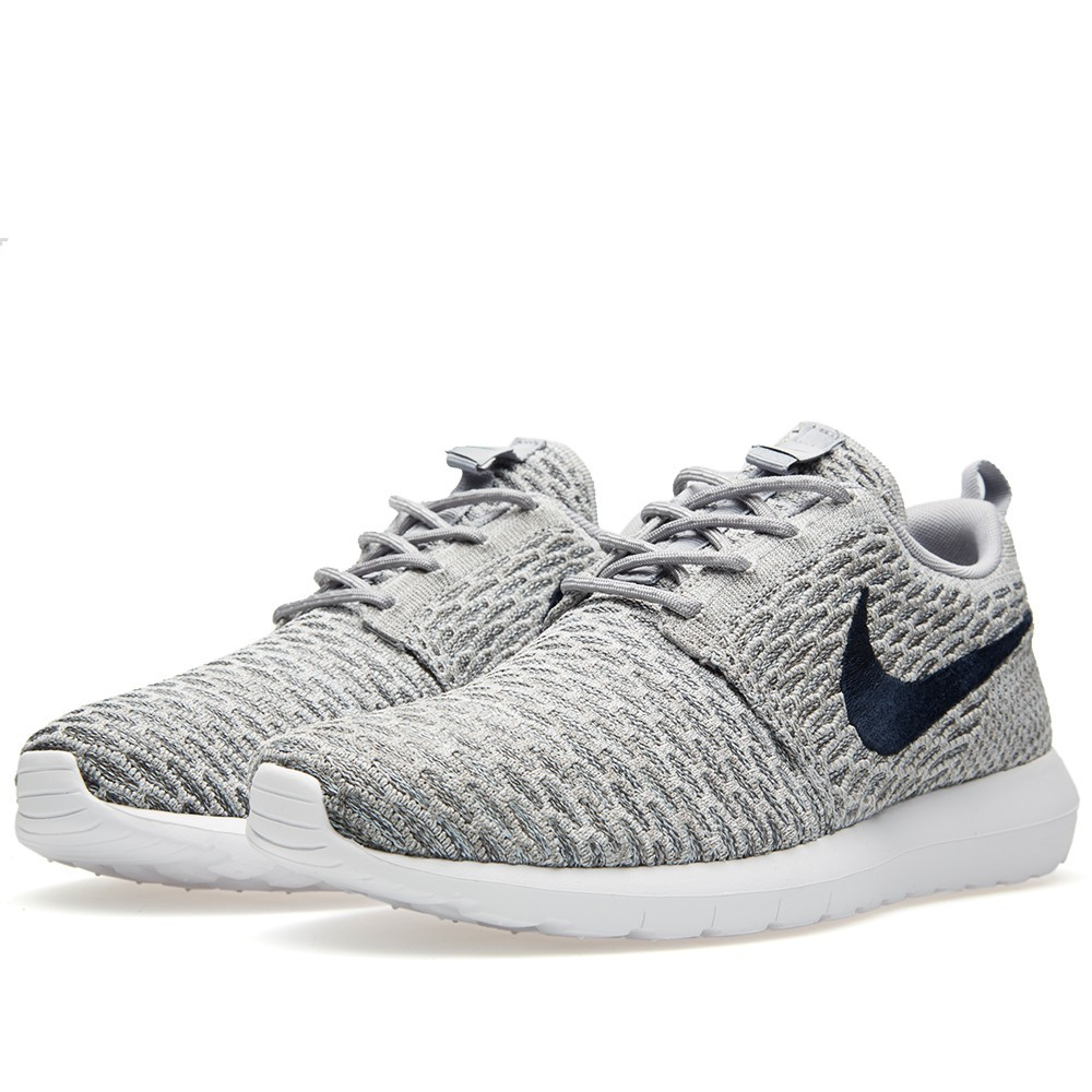Nike Roshe Run Flyknit 677243-006 Light Charcoal Dark Obsidian Shoes
