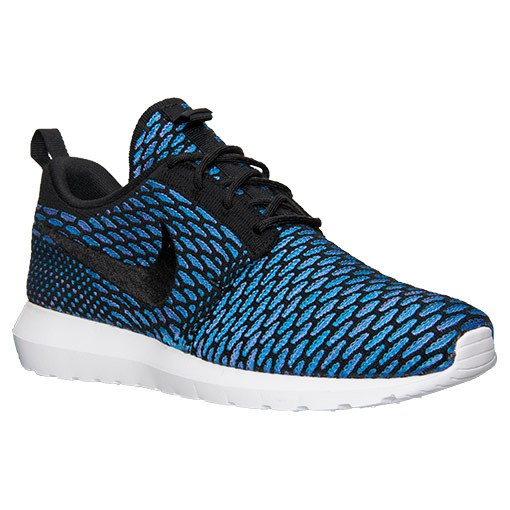 Nike Roshe Run Flyknit 677243 002 Black Black Neon Turquoise Shoes