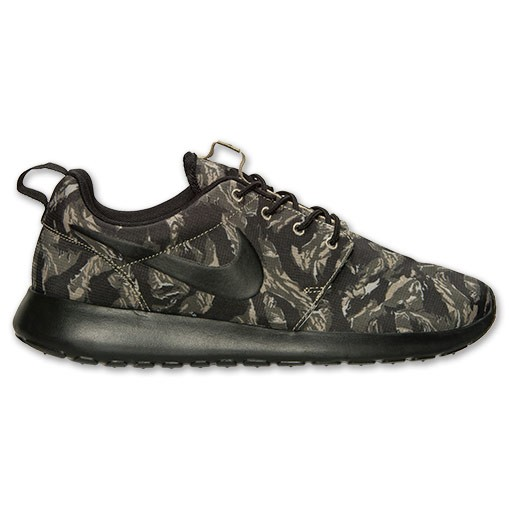 Nike Roshe Run Print Camo 655206 022 Light Bone Black Cargo Khaki Mens and Womens Casual Shoes