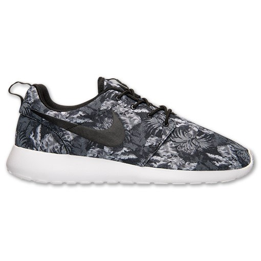 Nike Roshe Run Print Palm Trees 655206 010 Cool Grey Black White Wolf Grey Mens and Womens Casual Shoes
