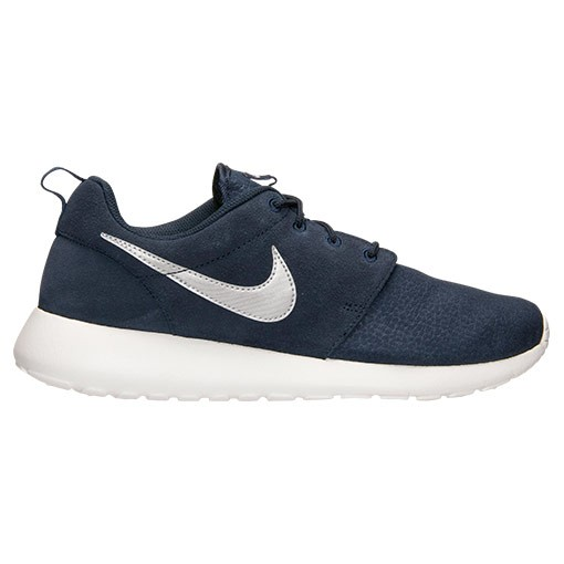 Nike Roshe Run Suede 685280 417 Obsidian Metallic Silver Summit White Mens and Womens Casual Shoes